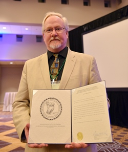 2015 award winner Ancient World Online, accepted by Charles E. Jones
