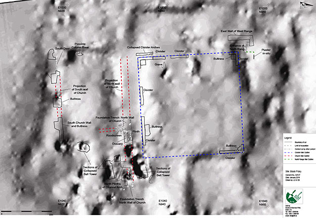 Figure 4: Topographical survey of the site with the features excavated to date superimposed on the survey