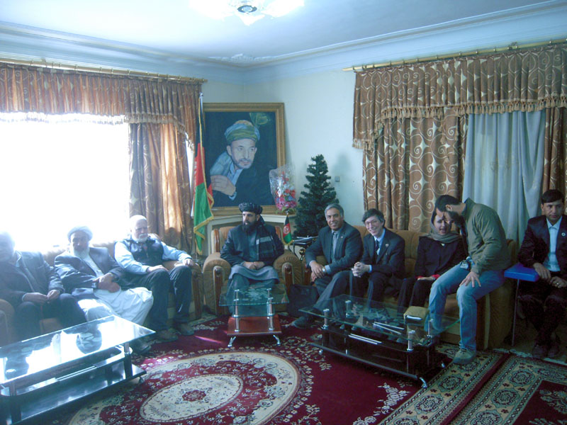 With the Governor of Ghazni Province (center, sitting under the picture of President Hamid Karzai. To right of Governor is Mohammed Qayoumi, incoming president of San Jose State University, sitting next to Brian Rose.
