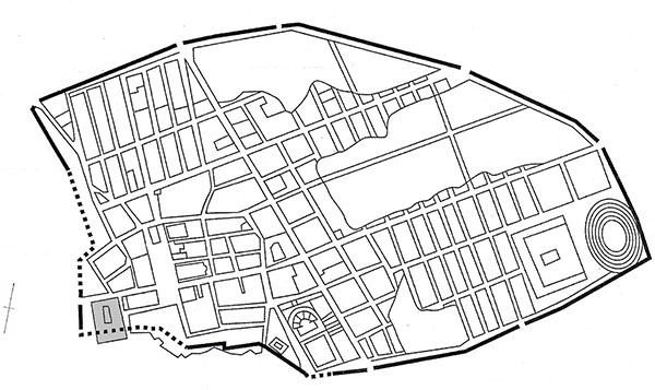 Schematic plan of Pompeii showing the location of the Sanctuary of Venus (area shaded in grey)