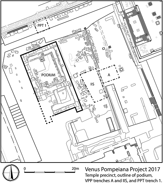 State plan of the sanctuary of Venus with indication of the trenches surveyed in the 2017 pilot season (Dan Diffendale)