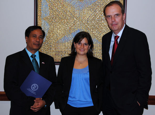 The Honorary Consul General of Cambodia to the United States, Erin Linn, and AIA Executive Director Peter Herdrich
